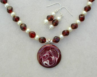 NEW SALE - 50% off, Marsala Swirls, Metal Pendant, Pre-WWII German Glass Beads, Sterling Silver Swirled Clasp, Necklace Set by SandraDesigns