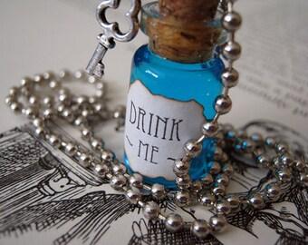 DRINK ME - Alice in Wonderland - 1ml Glass Bottle Necklace Charm - Cork Vial Pendant - Christmas Fantasy Potion