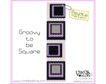 Peyote Pattern: Groovy to be Square - for cuff bracelet - INSTANT DOWNLOAD pdf -Discount codes are available