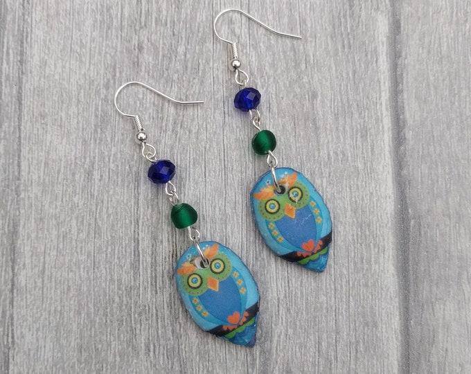 Blue Owl Statement Earrings, Animal Jewelry, Bird Earrings