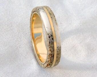 Bronze Ring, Deer Antler Ring,