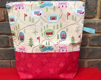 Santa's Winter Village-  XL Sweater Size Project Bag