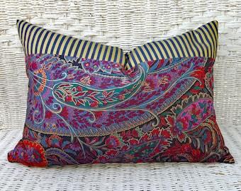 Boho Pillows, Boho Pillow Covers, Bohemian Pillow, Boho Gift, Boho Girl Decor, Boho Lumbar Pillow, Purple Gold Red Blue Cushion Zipper 14x20