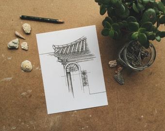 Haeundae -  Giclée Print 6x8 in - Travel Drawing