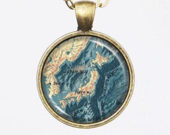 Vintage Japan Map Necklace - Japan & the Ocean Floors around it- Vintage Map Series