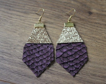 Titan Leather Earrings - Plum Alligator with Glitter Gold