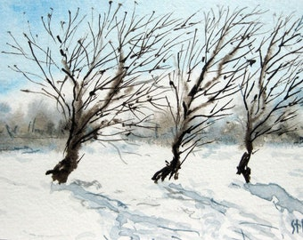 Original ACEO watercolor painting -Three Trees - Miniature Painting, Small Painting, Art and Collectables - ACEO Watercolor 2.5 x 3.5 inches