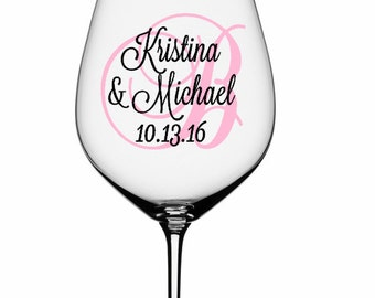 SINGLE DIY Wine Glass Decal Monogram With Name And Date, Bridal and Groom Wine Glass Decals, Glasses NOT Included