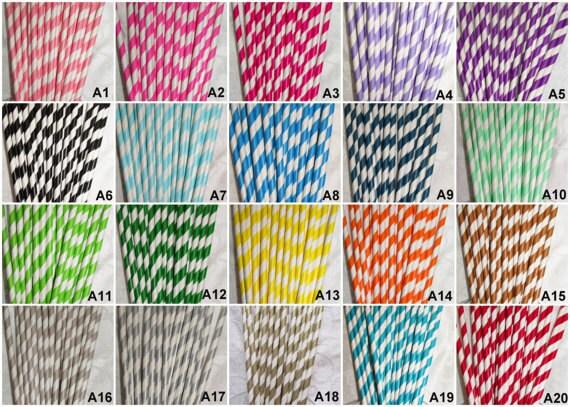 50 Paper Straws Pick Your Colors Mason Jar Straws Striped Gold Silver Pink Paper Straws Chevron Straws Wholesale Paper Straws Rustic Wedding