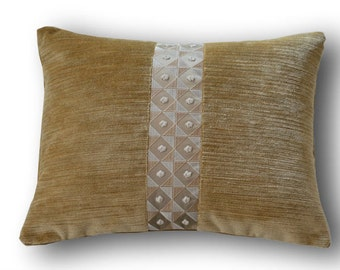 Velvet cushion with insert 40 x 30 cm textured fabric Casamance (16