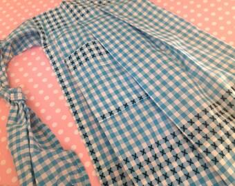 NOS vintage apron, gingham half apron, blue apron, aqua apron, gingham apron, handmade, half apron, turquoise apron, retro, NOS,