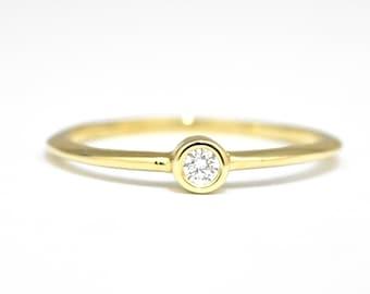 Dainty Diamond 14k Gold Ring, Diamond Gold Ring, Thin Engagement Ring, Solitaire Diamond Ring, Delicate Diamond Ring, Anniversary Gold Ring