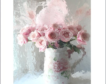 Roses Photography, Shabby Chic Decor, Pink Roses Print, Romantic Roses, Pink Roses, Baby Girl Nursery Decor, Impressionistic English Roses