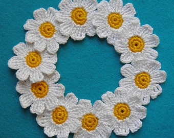 """Daisy crochet 10pcs Decorative flowers 1,2"""" White flower Daisy applique"""