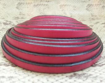 high quality European fuchsia 5mm flat leather strap