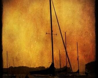 Sailboat Decor, Nautical Art, Vintage, Sailing Art, Home Decor, Maritime Art, Nautical Decor, Come Sail Away