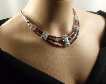 Garnet Necklace Designer Necklace Gift for her Fashion Jewelry Genuine Garnet Elegant Necklace