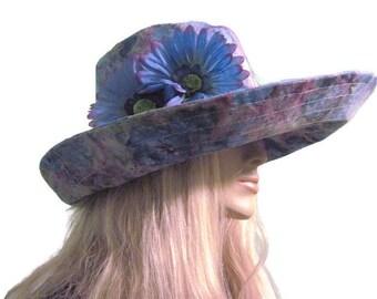 Wide Brim Sun Hat Blue Floral Batik Print Summer Hat