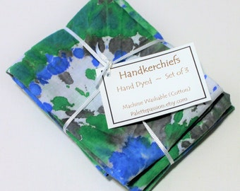 Hand Dyed Handkerchiefs - Mens Cotton Hankies - Set of 3 - Royal Blue Kelly Green Gray Grey White Tie Dye Handkerchief Pocket Square