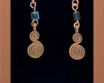 Copper and Blue Dangle Earrings
