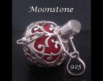 Harmony Ball Bola Necklace with MOONSTONE Gemstone and Red Chime Ball in a 925 Sterling Silver Cage   Pregnancy Gift, Angel Caller 451