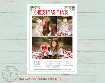 Christmas Mini Session template, Holiday Photography, Holiday Marketing, Photoshop Template, Instant Download, Mini Session Marketing