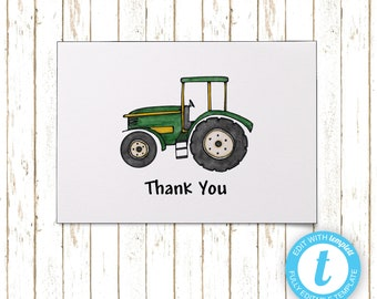 Green Tractor Thank You Cards | Printable PDF or JPEG | Instant Download | Templett | KBI121TY