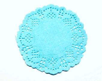 Set of 20 blue lace paper placemats 8 * 8 cm