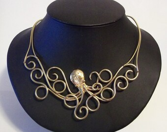 Octopus Necklace in Bronze