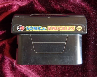 Vintage Sonic and Knuckles Video Game Cartridge