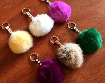 PAMELA PomPom Keychain and Bag Charm. Preciosa Crystal Detail. High End Handmade. Use as Key Chain OR Bag Charm. Fast Shipping w/Tracking.