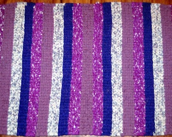 Purle Country Farmhouse Rag Rug Twined Rug Hand Woven Country Rag Rug