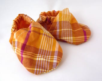 Orange Baby Shoes, Plaid Fabric Shoes, Cloth Baby Shoes, Cotton Baby Shoes, Elastic, Baby Accessories, Gift Idea,Baby Shower Gift,Cute Shoes