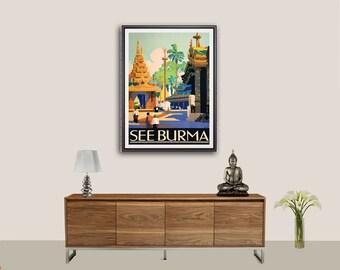 Voir affiche de Birmanie de voyage Vintage, années 1930 - affiche, autocollant ou toile d'impression / idée cadeau