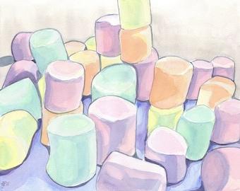 Watercolor Painting - Marshmallows Art, Watercolor Art Print, 8x10 Wall Art, Candy Series no. 6