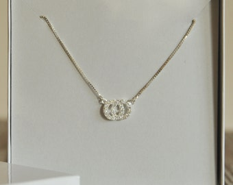 Intertwined Circles Necklace, Cubic Zirconia Pave, Sterling Silver, Bridesmaid Gift, Birthday Gift, Valentine's Day Gift
