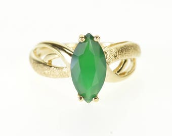 10k Emerald Marquise Pitted Textured Wavy Bypass Ring Gold