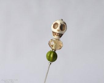 Skull Stick Pin, Olive and Topaz, Scarf Pin, Lapel Pin, Hijab Pin, KC0527