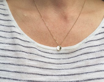 Gold Coin Necklace Simple Gold Necklace Gold Disc Necklace Gold Charm Necklace Small Gold Coin Necklace Hammered Coin Mother's Day Gift