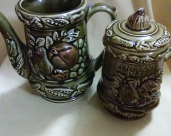 Vintage 1970's Retro Avocado green ceramic teapot and instant coffee canister.