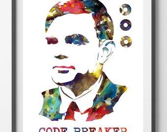 Alan Turing watercolor Print computer science father Alan Turing poster Alan Turing matematician computer pioneer and Code-Breaker tribute