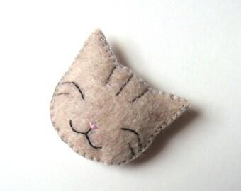 Smile Cat Animal Felt Brooch Grey Gray Tabby Cat Handmade Felt Accessory Cute & Funny