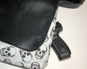 Skulls messenger bag/Concealed Carry Handbag