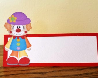 Circus Birthday Party Food Labels, Clown Place Cards, Set of 12 Food Tent Cards, Buffet Labels Name Place Cards, Circus Party Favors
