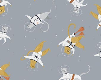 Supernova- Cats in Space in Arctic (Gray) - Rae Ritchie - Dear Stella Stella Fabrics - Fabric By The Half Yard