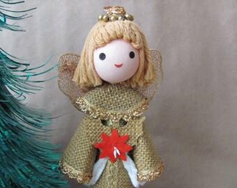 Vintage Christmas Tree Topper, 1970's Angel Tree Topper, Figurine, Burlap, Rustic Angel, 1970's Retro Christmas, Holiday Decoration