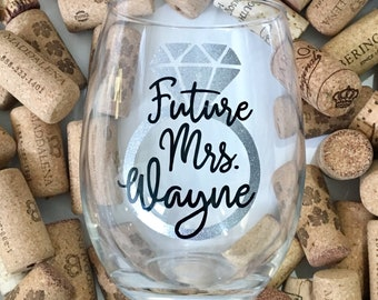 Future Mrs. Personalized // Stemless Wine Glass - Glitter - Bride to Be Gift - Bridal Shower Gift - Engagement Wine Glass - Engagement Gift