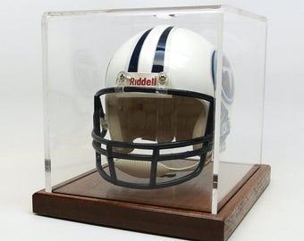 "Mini Helmet Display Case, Handcrafted with Mahogany or Red Oak Wood Base, 3/16"" Acrylic Case ,  1"" Acrylic Rod Holder."