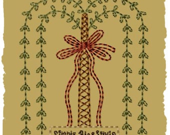 Primitive Machine Embroidery Design-Simple Blessings Willow--Version 2--(4x4)-INSTANT DOWNLOAD