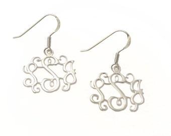 "Monogram dangle earrings. silver monogram earrings. 0.8"" earrings. Personalized earrings. Monogram jewelry. Personalized silver earring"